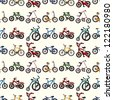 seamless bicycle pattern,cartoon vector illustration - stock vector