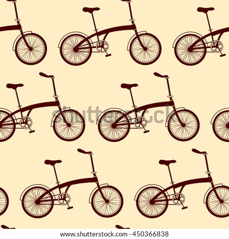 Seamless bicycles pattern on yellow background