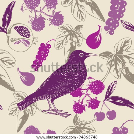 Seamless Bird and Berry Pattern - stock vector