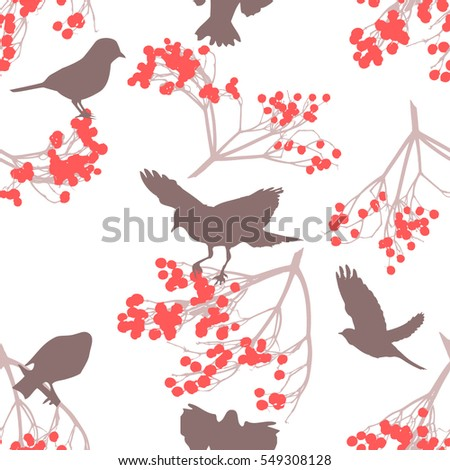 Seamless bird and rowan. Vector.