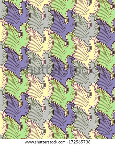 Seamless bird background/tessellation - stock vector