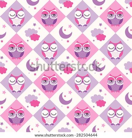 seamless birds bedroom wallpaper background pattern - stock vector
