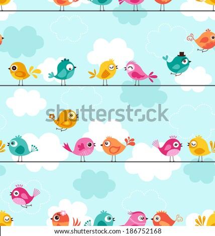 seamless birds pattern - stock vector