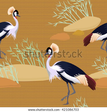 Seamless birds. Royal Crane. Heron.  Ornament with oriental motifs. Vector.