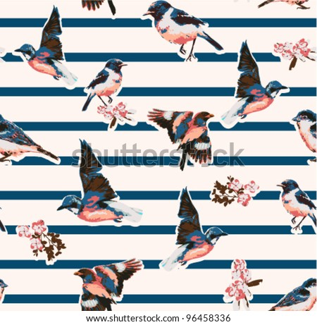 seamless birds with flower on stripe background - stock vector