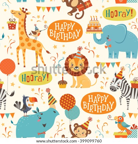 Seamless birthday pattern with cute jungle animals - stock vector