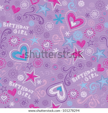Seamless Birthday Pattern with Hearts and Stars Back to School Style Sketchy Notebook Doodle Design- Hand-Drawn Vector Illustration Background - stock vector