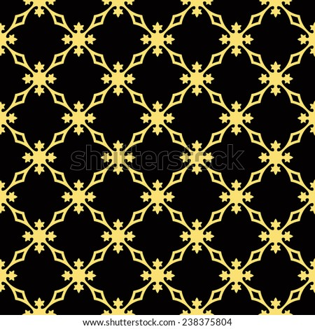 Seamless black and gold vintage revival geometric pattern vector - stock vector
