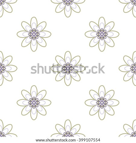 Seamless black and white abstract flower pattern created from circle and ellipses   - stock vector