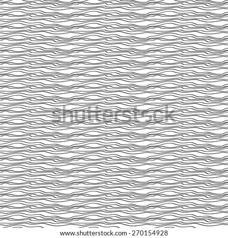 Seamless black and white abstract line pattern with waves. Vector background.