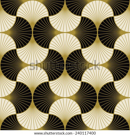 seamless black and white art deco pattern of overlapping arcs. each color in separate layer. - stock vector