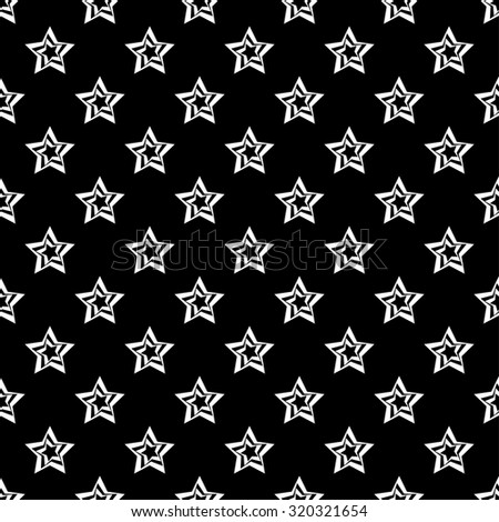 Seamless black and white background with decorative stars