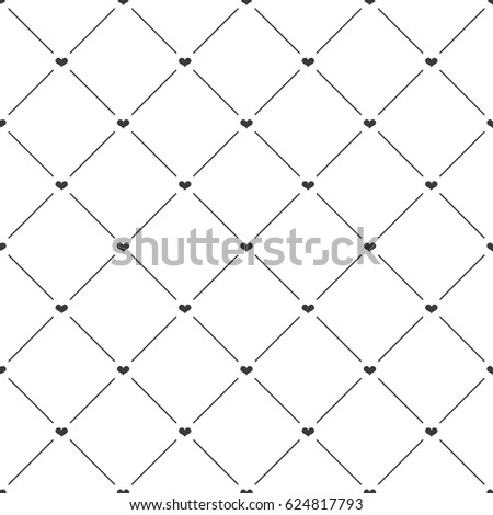 Seamless black and white diagonal hearts and lines textile romantic pattern vector