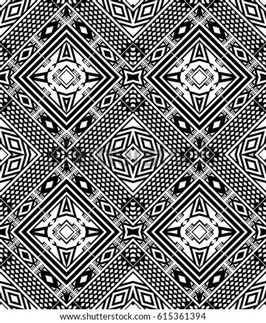 seamless black and white ethnic pattern vector wallpaper