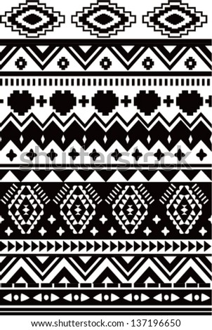 seamless black and white ethnic vector pattern background - stock vector