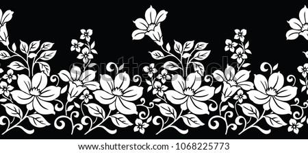 Seamless black white floral border stock vector royalty free seamless black and white floral border mightylinksfo
