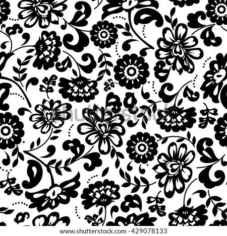 Seamless black white floral pattern stock vector 429078133 seamless black and white floral pattern mightylinksfo