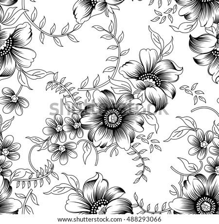 Seamless black white floral pattern stock vector 488293066 seamless black and white floral pattern mightylinksfo
