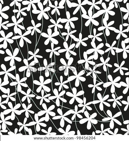 Seamless black and white floral pattern. Vector illustration