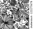 Seamless black and white floral pattern with drops and design elements - stock photo