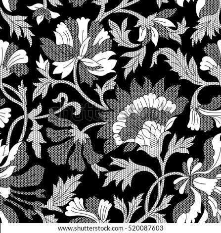 Seamless black white flowers lace pattern stok vektr 520087603 seamless black and white flowers lace pattern mightylinksfo