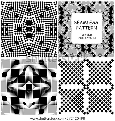 Seamless Black and White Geometric Background Patterns collection. Abstract  Ethnic stylish backgrounds. Repeating  vector digital new backgrounds can be used for pattern fills, web ,surface textures. - stock vector