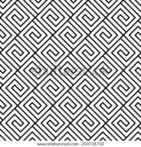 Seamless black and white geometric vector pattern. - stock vector