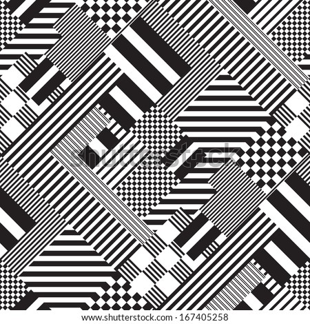 Seamless Black and White Lines Pattern. Abstract Retro Fashion Ornament. Minimal Fabric Graphic Design. Psychedelic Art Mosaic. Stripe and Square Texture - stock vector