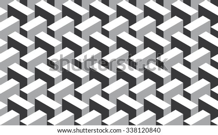 Seamless black and white op art 3d illusion isometric pattern vector - stock vector
