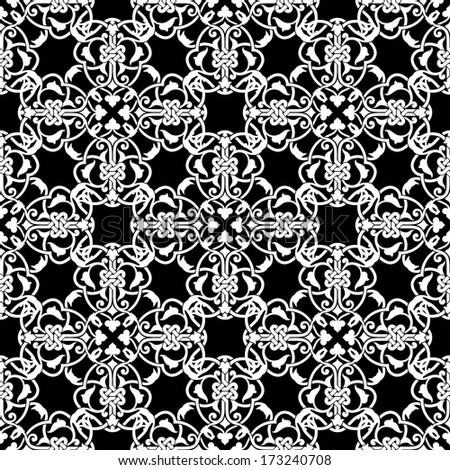 Seamless black and white pattern in arabic or muslim style vector illustration