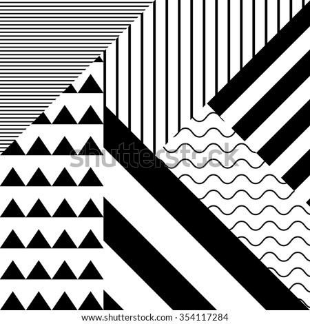 Seamless black and white pattern in retro abstract style  - stock vector