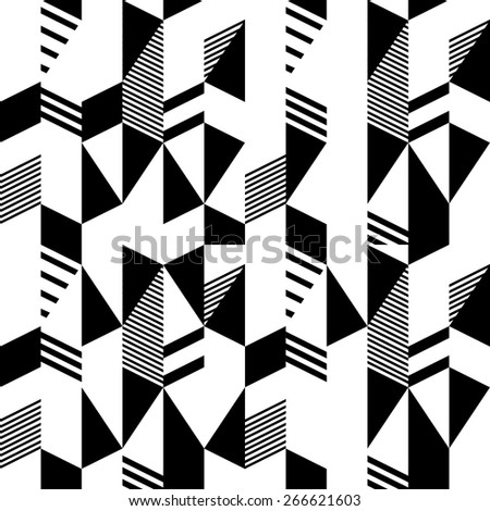 Seamless black and white pattern in retro bauhaus style