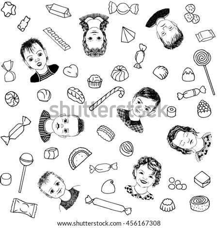 Seamless black and white pattern. Seamless pattern can be used for wallpaper, pattern fills, web page backgrounds, surface textures. Kids and sweet in trendy hand drawn doodle style. - stock vector