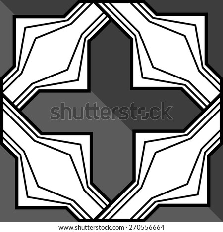 Seamless black and white pattern with braided - stock vector
