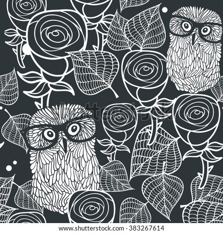 Seamless black and white pattern with cute birds and lovely flowers. Owls in roses vector illustration. - stock vector