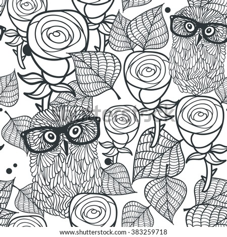 Seamless black and white pattern with flowers and birds. Vector illustration of smart owls.