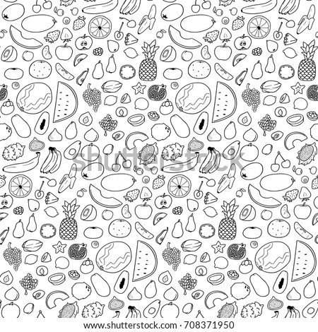 Seamless Black White Pattern Hand Drawn Stock Vector 708371950 ...