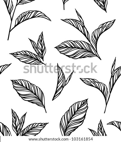 Seamless black-and-white pattern with leaves in vintage style. Seamless pattern for your design wallpapers, pattern fills, web page backgrounds, surface textures. - stock vector