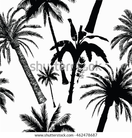 Seamless black and white pattern with palms. Hand drawn vector.