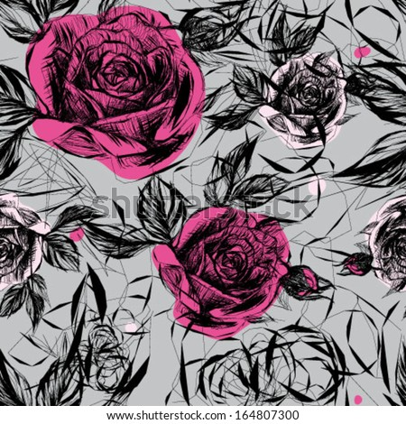 Seamless black-and-white pattern with pink roses / Japanese floral calligraphy   - stock vector