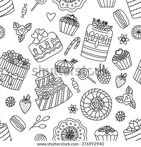 Seamless black and white pattern with sweets. Elements for coloring book. Vector illustration. - stock vector