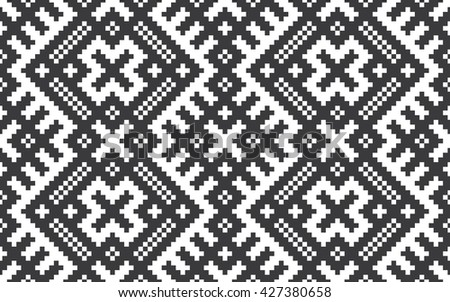 Seamless black and white slavic pixel ethnic textile pattern vector
