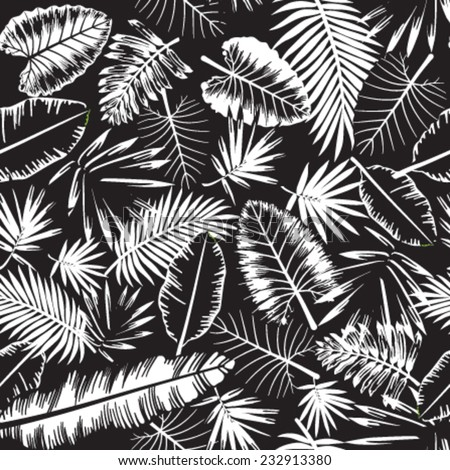 Seamless black and white tropical jungle pattern with jungle leaves and palm fronds. Vector illustration. - stock vector