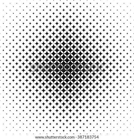 Seamless black and white vector star pattern design - stock vector