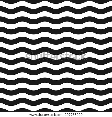 Seamless black and white wave pattern. Vector illustration - stock vector