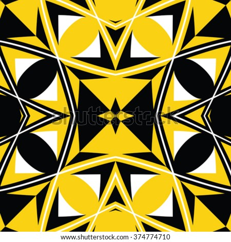 seamless black and yellow texture, abstract pattern, vector art illustration