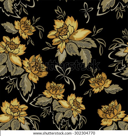 seamless black background with beautiful bouquets of yellow flowers