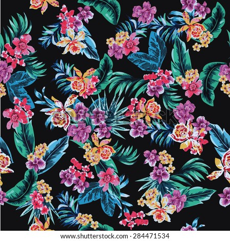 Seamless black background with tropical flowers and foliage fashion print pattern vector - stock vector