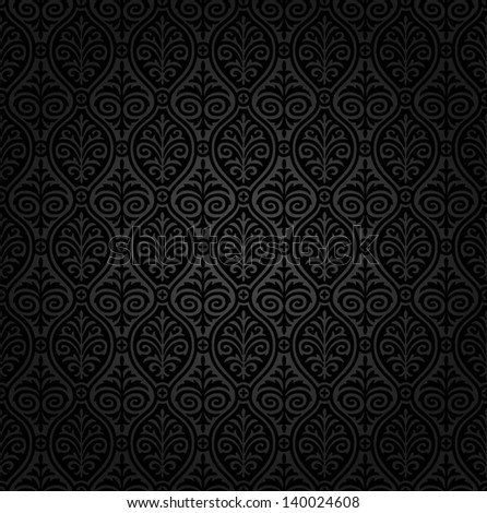 Seamless black damask wallpaper - stock vector