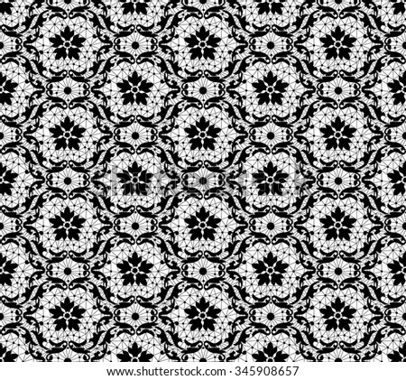 Seamless black lace pattern on a white background